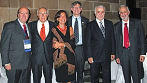 Meakins-Christie Laboratories Director Qutayba Hamid at the European Respiratory Society Meeting in 2010 with prominent scientists who trained at the MCL (l to r): Marc Decramer (ERS president 2010-11), Manuel Cosio, Marina Saetta, Dean Schraufnagel (ATS president 2010-11), Qutayba Hamid, and Nikolaos Siafakas (ERS president 2009-10).