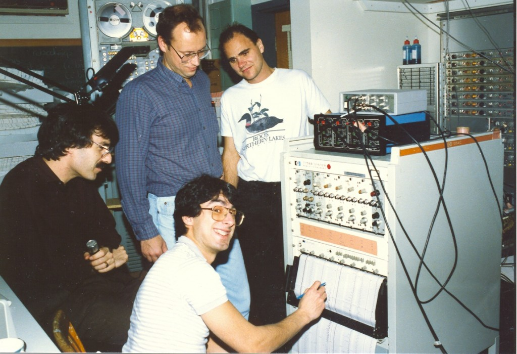 1988: Research study in the Sleep Lab of the old Royal Victoria Hospital. Clockwise: Basil Petrof, Stewart Gottfried, John Kimoff, Allan Olha