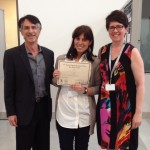 Photo of 2016 Research Day Winner: Alice Panariti with Dr. Basil Petrof and Dr. Carolyn Baglole