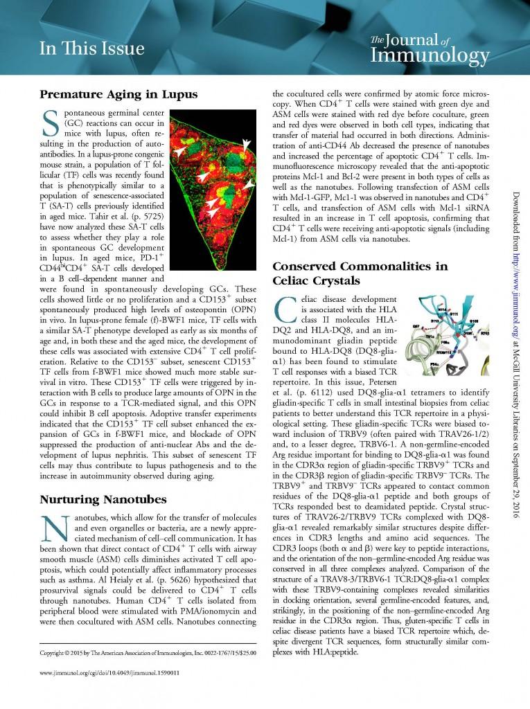 J Immunology Top 10% In this Issue: Nurturing Nanotubes. J Martin
