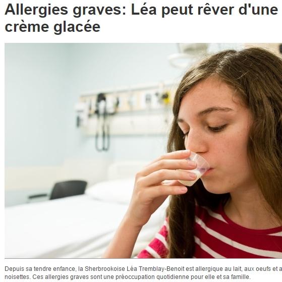 Bruce Mazer milk allergy desensitization: Allergies graves: Léa peut rêver d'une crème glacée