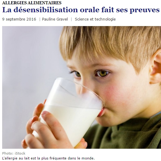 Bruce Mazer milk allergy desensitization: La désensibilisation orale fait ses preuves