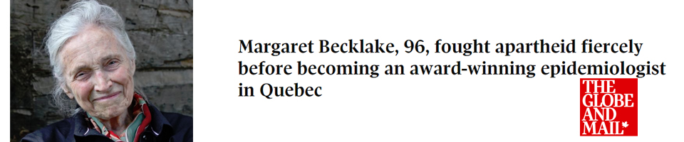 Margaret Becklake: Article in the GLobe and Mail 2018