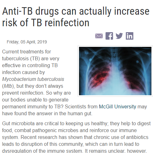King and Divangahi publication: Anti-TB drugs can actually increase risk of TB reinfection