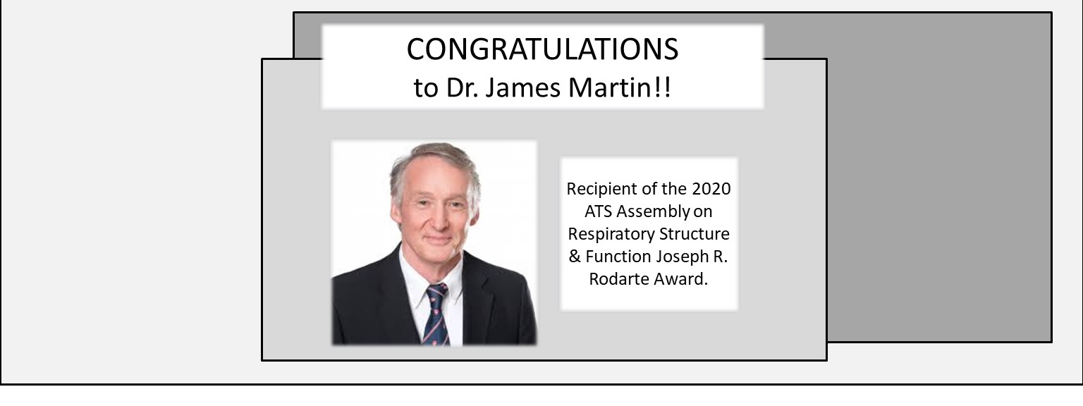 Dr. James Martin, recipient of the 2020 ATS Assembly on Respiratory Structure & Function Joseph R. Rodarte Award.